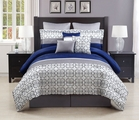 9 Piece Queen Adera Navy and Gray Comforter Set