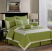 9 Piece Queen Alina Sage Embroidered Comforter Set