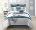 9 Piece Queen Aqua Bloom 100% Cotton Comforter Set