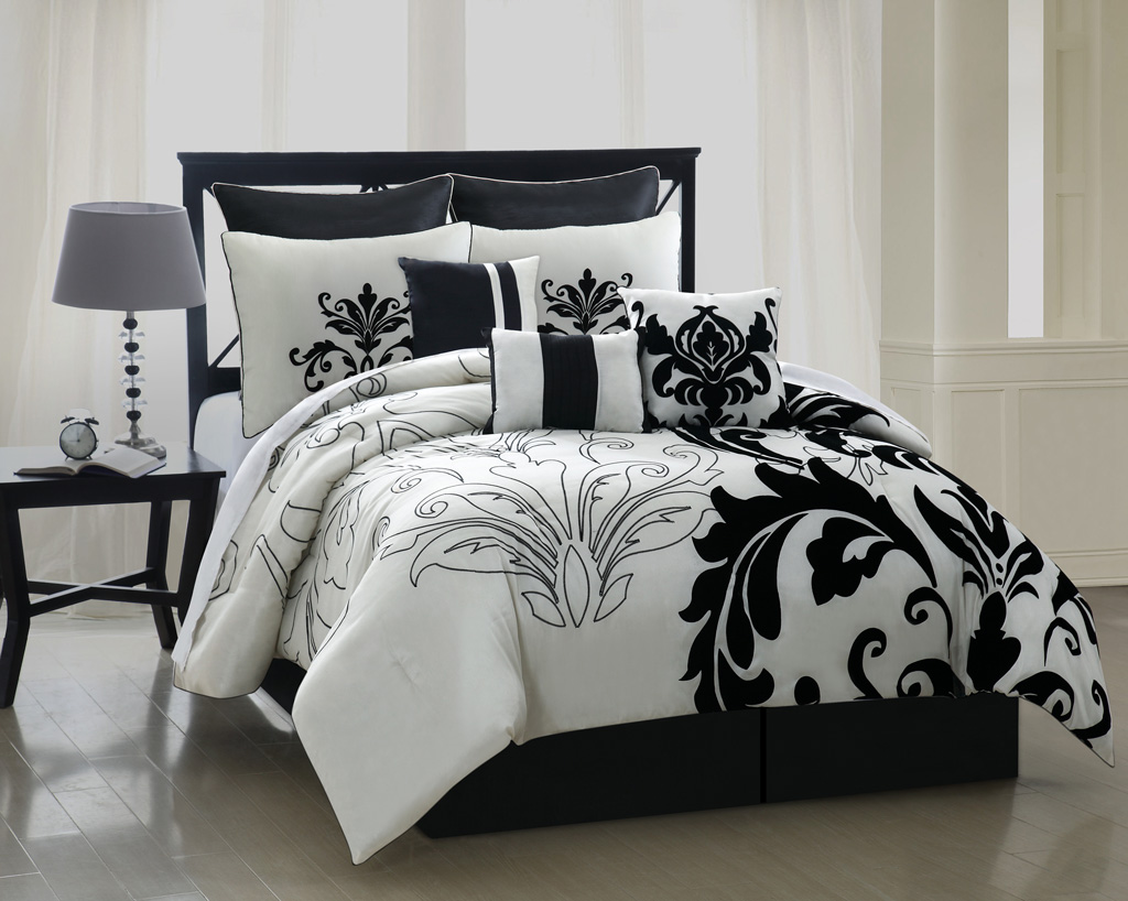 Black white queen comforter sets pictures to pin on pinterest - Black white bedding sets ...