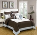9 Piece Queen Baldwin Coffee and Blue Comforter Set