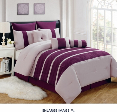 9 Piece Queen Barri Plum Comforter Set