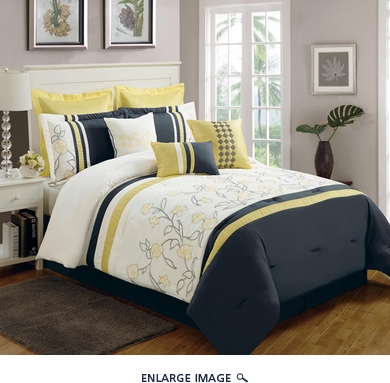 9 Piece Queen Begonia Yellow/Black/White Comforter Set