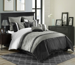 9 Piece Queen Bordeaux Black/Gray/White Comforter Set