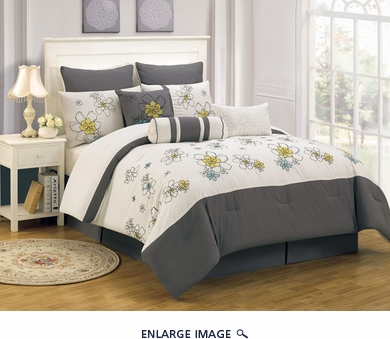9 Piece Queen Carley Gray and Ivory Comforter Set