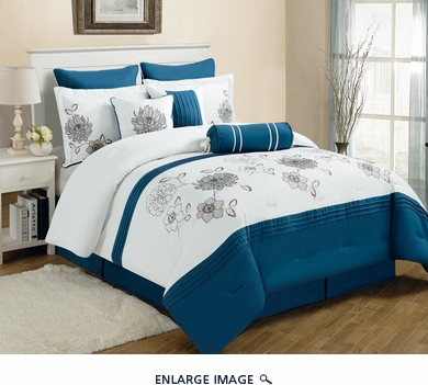 9 Piece Queen Cremon Diva Blue and White Comforter Set