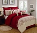 9 Piece Queen Lynsey Burgundy and Beige Comforter Set