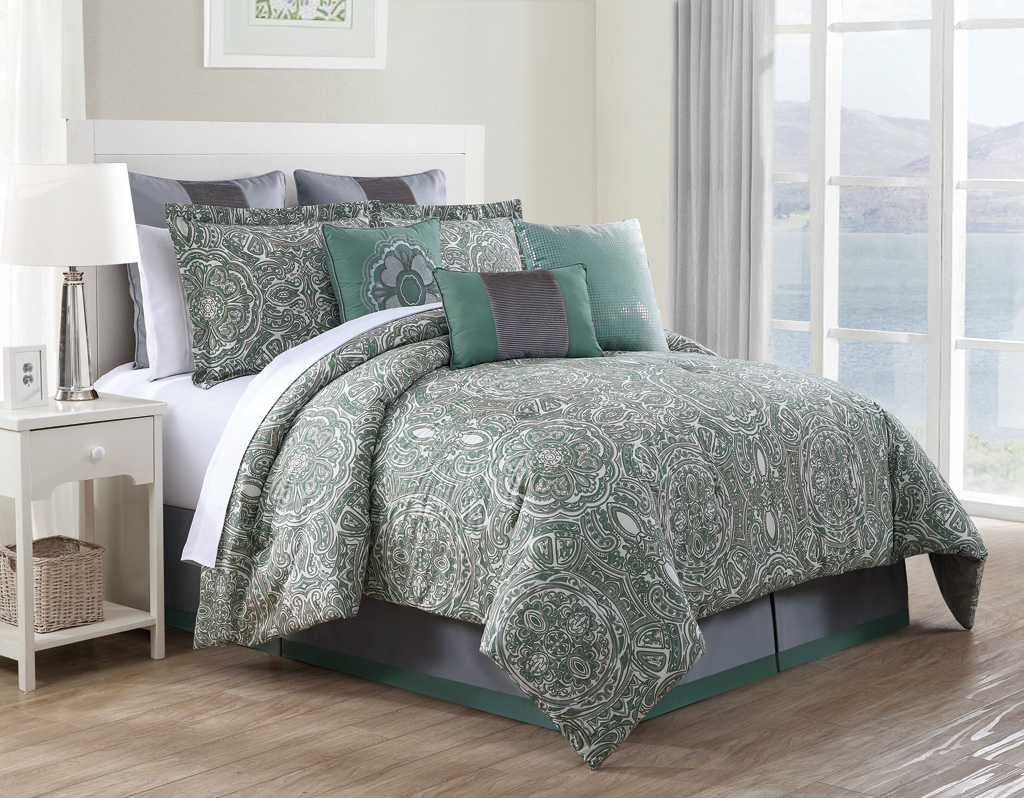 9 Piece Queen Clara 100 Cotton Comforter Set