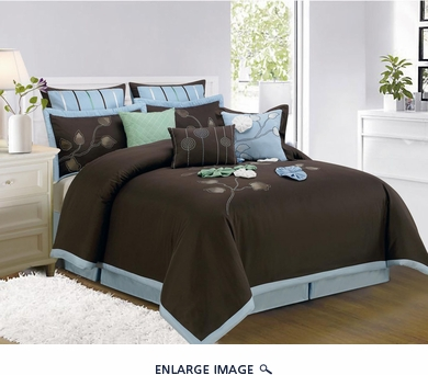 9 Piece Queen Salzer Brown Comforter Set