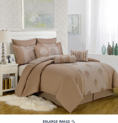 9 Piece Queen Mayden Taupe Comforter Set