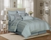 9 Piece Queen Pavillion Blue Mist 500TC 100% Cotton Comforter Set