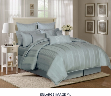 9 Piece Queen Pavillion Blue Mist 500TC Cotton Comforter Set