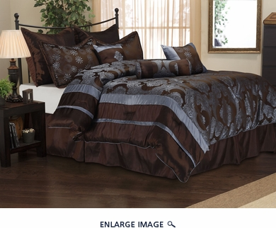 9 Piece Queen Romaine Jacquard Bedding Comforter Set