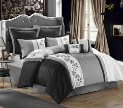 8 Piece Queen Serbia Black/Gray/White Comforter Set