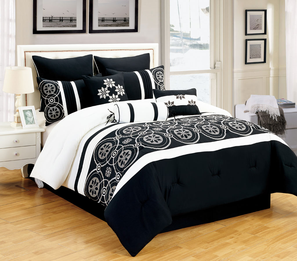 Black and white comforter sets king pictures to pin on - Black and white bedding sets ...