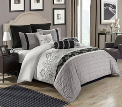 9 Piece Queen Temsia Gray/White/Black Comforter Set