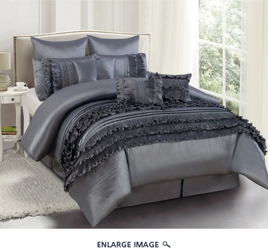 9 Piece Queen Valisa Charcoal Comforter Set