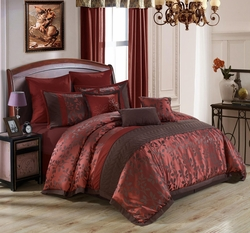 9 Piece Queen Venita Burgundy/Chocolate Comforter Set