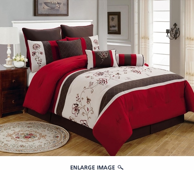 9 Piece Queen Zahara Burgundy and Coffee Comforter Set