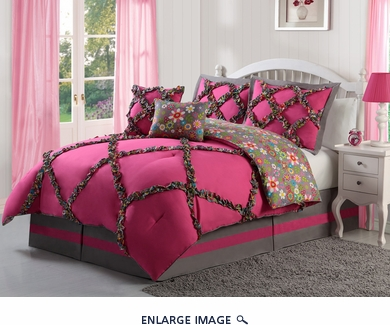 9 Piece Twin Leah Pink Bed in a Bag Set