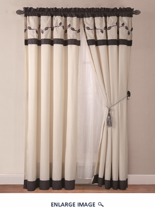 Adelissa Embroidered Curtain Set w/ Tassels / Sheers