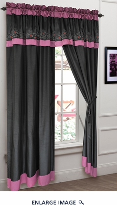 Alexandra Embroidered Curtain Set Black/Gray