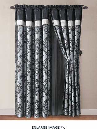 Allie Black and Gray Jacquard Curtain Set w/ Valance/Sheer/Tassels