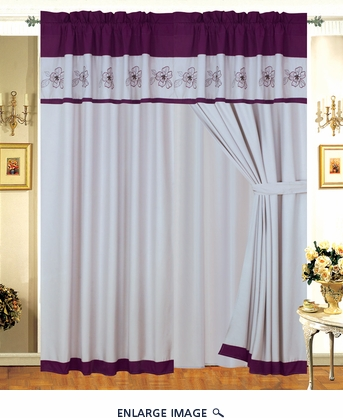 Alyssa Purple Floral Embroidered Curtain Set
