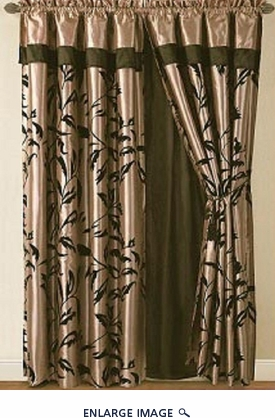 Amelia Black and Tan Flocked Curtain Set w/ Valance/Sheer/Tassels