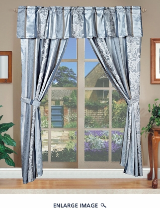 Amethyst Jacquard Curtain Set Blue w/ Valance/Sheer/Tassels Blue