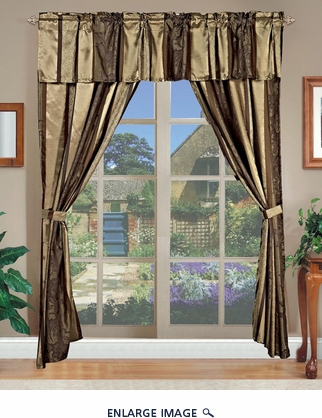 Amethyst Jacquard Curtain Set Brown w/ Valance/Sheer/Tassels Brown