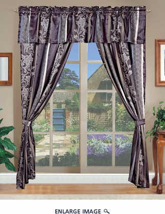 Amethyst Jacquard Curtain Set Purple w/ Valance/Sheer/Tassels Purple