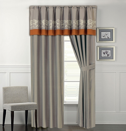 Anderson Embroidered Curtain Set Gray