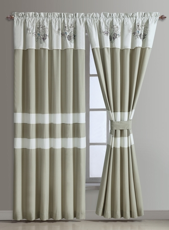 Anela Embroidered Floral Curtain Set