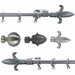 "Antique Pewter Acorn Head 48""-84"" Curtain Rod Set"