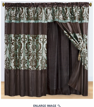 Aqua and Coffee Flocked Curtain Set w/ Valance/Sheer/Tassels