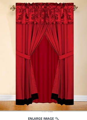 Asian Happiness Jacquard Curtain Set Red/Black