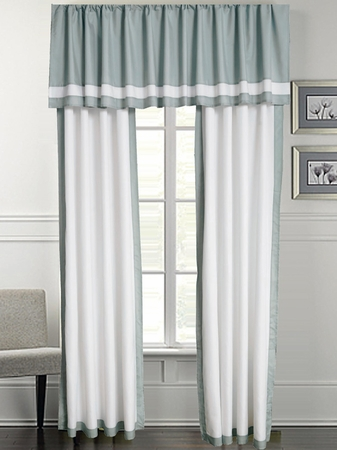 Austin Dusk Blue and White Curtain Set