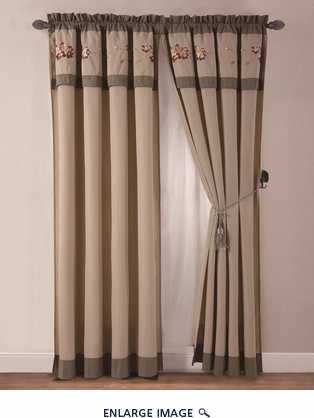 Autumn Embroidered Curtain Set w/ Tassels / Sheers