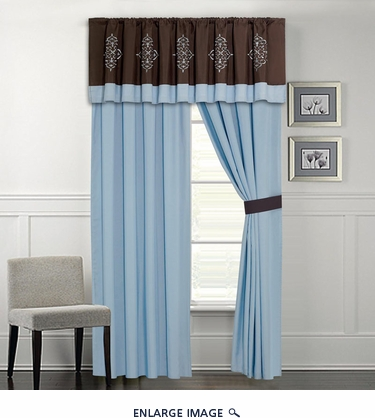 Baldwin Coffee and Blue Curtain Set