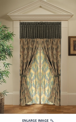 Bali Tropical Chenille Drapery Panel  w/ Tassels / Sheers