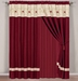 Baylee Floral Embroidered Curtain Set w/ Valance/Sheer/Tassels