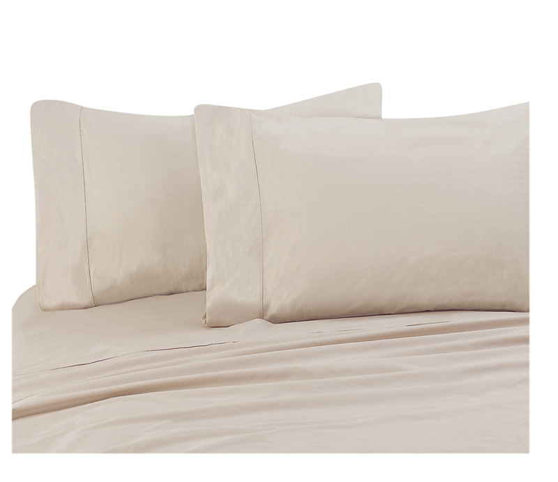 Beige 300 Thread Count Cotton Pillowcases Standard/Queen