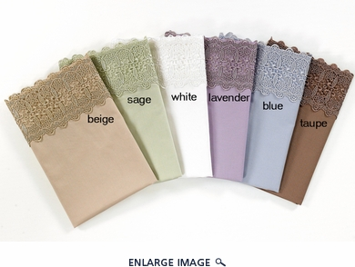 Beige 500 Thread Count Cotton Lace Sateen Sheet Set Queen