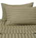 Beige 500 Thread Count Damask Stripe Cotton Sheet Set Queen