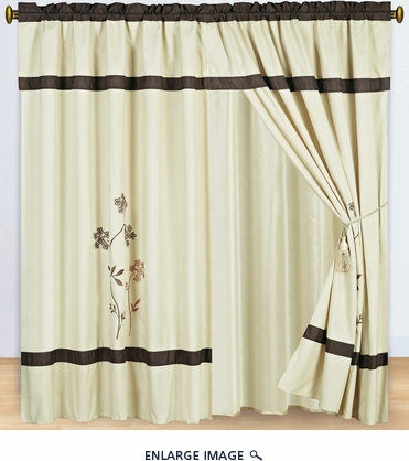 Beige and Coffee Embroidered Curtain Set w/ Valance/Sheer/Tassels
