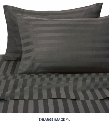 Black 500 Thread Count Damask Stripe Cotton Sheet Set Cal King