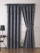 Black and Charcoal Geo Curtain Set w/ Valance/Sheer/Tassels