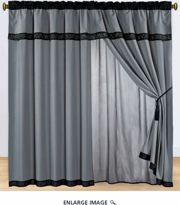 Black and White Embroidered Curtain Set w/ Valance/Sheer/Tassels