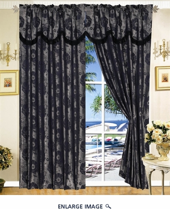 Black Jacquard Floral Curtain Set w/ Valance/Sheer/Tassels